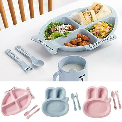 Baby Divided Plate Kids 4 Compartment Food Tray Straw Children Tableware Set