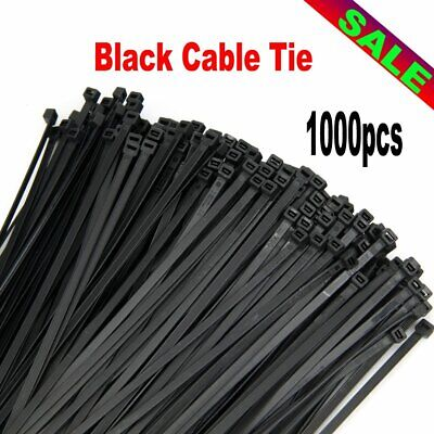4.8mm x 300mm UV Resistant Nylon Cable Zip Wire Tie Stabilised - Black 1000PCS