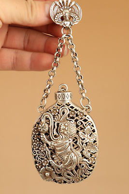 Tibet Silver Hand Carved leo Statue hollow snuff bottle Netsuke Pendant