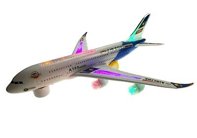 KIDS ELECTRIC LIGHT /& MUSIC AIR PLANE AIRBUS A380//747 BUMP AND GO TOY  32CM