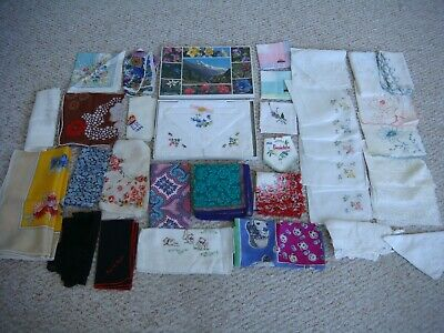 37 x Vintage Handkerchiefs incl Liberty/Victorian/Boxed Swiss/Ungaro/White Work