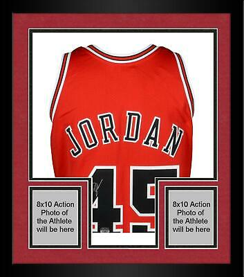 a7ae3f39da5 Framed Michael Jordan Chicago Bulls Signed Red M&N #45 Jersey - Upper Deck