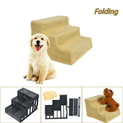 Folding Pet Stairs 3 Step Pets Ramp Cat Dog Ladder With Washable Cover US Stock