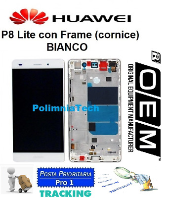 DISPLAY HUAWEI P8 Lite  BIANCO Ale l21 DISPLAY LCD+TOUCH COMPLETO con FRAME OEM