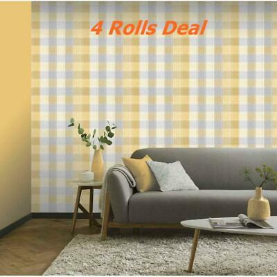 4 Arthouse Country Check Tartan Plaid Ochre Grey Mustard Yellow Wallpaper 902807