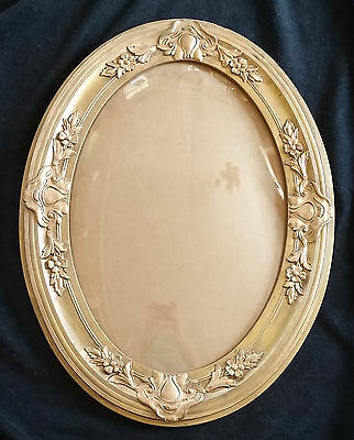 Antique Victorian Gold Wood & Floral Gesso Oval Picture Frame w/Convex Glass