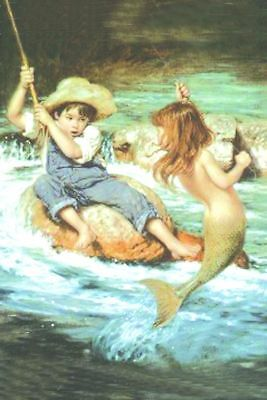ZOPT800 hand painted little boy&little Mermaid girl art OIL PAINTING on CANVAS