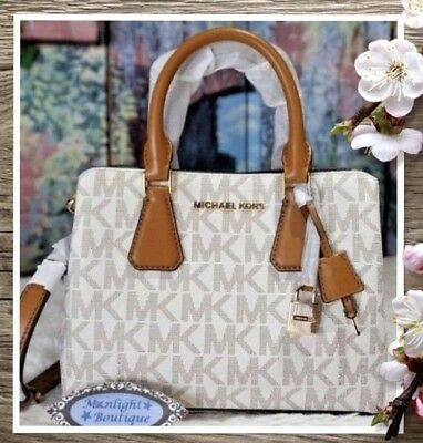 170c83f90d09 MICHAEL KORS CAMILLE SM Satchel Crossbody Bag In VANILLA/ACORN PVC Leather  $368