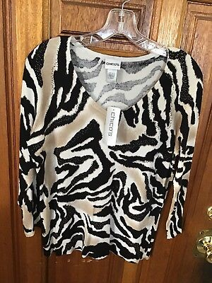 7be8b1fb448 New Chico's Black White Brown Amazon Swirl Print Top Sweater Sz1 = medium  NWT