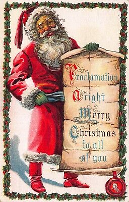 Two Christmas Postcards Santa Claus Holding Scroll Proclamation~114098