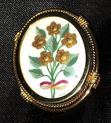 Antique Hand Painted Flower Sterling Silver Gold Brooch Pendant Pin Signed Vtg