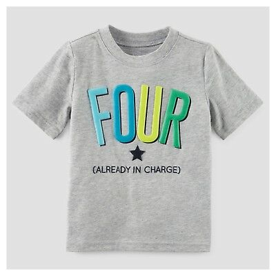 NEW 4th Birthday FOUR Baby Boys Shirt 4T Gray 4 Years Gift SS