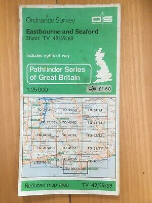 1:25000 Ordnance Survey OS map: Eastbourne and Seaford Sheet TV 49/59/69 1982