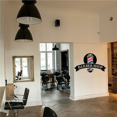 Barber Shop Window Stickers Front Salon Sign Wall Decal Modern Hairdresser Style
