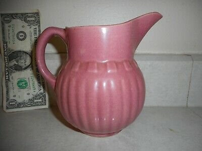 Antique Vintage Watt Oven Ware USA Pink Red Stoneware Pottery Pitcher or Creamer