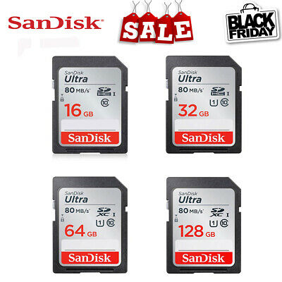 SanDisk Ultra Class10 SDHC/SDXC 80MB/s Memory SD Card of 16 32 64 128GB
