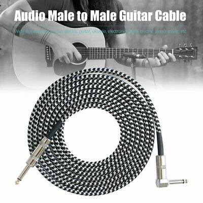 3M Guitar Lead 1 Right Angle Jack Noiseless Braided Tweed Instrument Cable @37