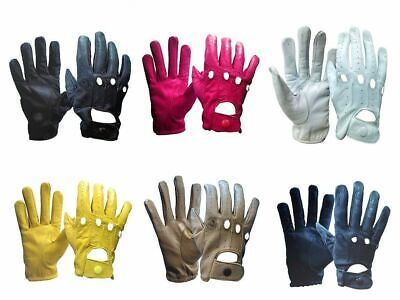Genuine Leather Women Ladies Girls Unlined Driving Gloves