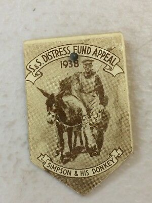 1938 Soldiers Sailors Distress Fund Appeal Day Badge Pin Simpson & His Donkey