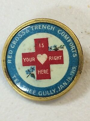 WW1 Red Cross & Trench Comforts Tea Tree Gully 1919 Button Badge Brass Back