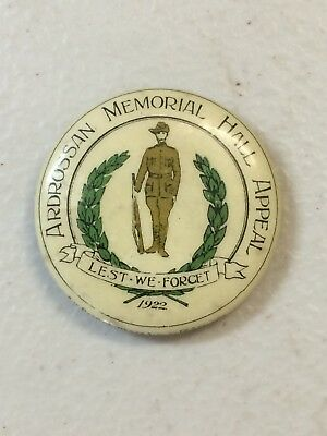 WW1 Ardrossan Memorial Hall Appeal 1922 Fund Button Badge Anzac Soldier