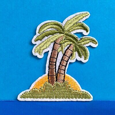*NEW* PALM TREE ISLAND SUNSET High Quality Fully Embroidered Patch Badge Iron-On