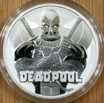 2018 Tuvalu Deadpool 1 oz. Silver Marvel Series $1 Coin BU with capsule