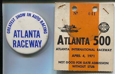 Atlanta 500 Ticket Badge & Pin Back Button-NASCAR 4/4/1971-
