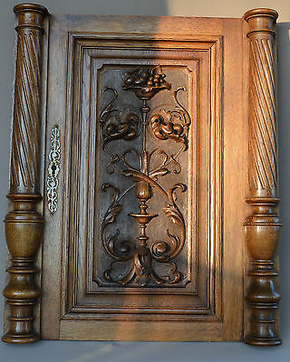 French Antique Carved Oak Wood Architectural Door Panel Columns Pillars 1 & 2