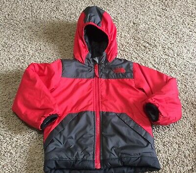 Boys The North Face Red Gray True Or False Reversible Hooded Jacket Size 2T a61129fc6