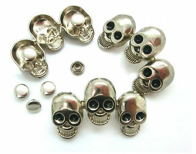 Skulls 3 Punk Rivets  Silver Tone enamel eyes 41x26mm Pkt 2 or 4