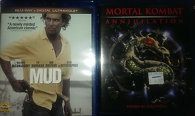 2 Blu-ray Lot Mud (Blu-ray Disc, 2013) and Mortal Kombat Annihilation
