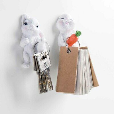 Self Adhesive Cute Rabbit Wall Hook Hangers Coat Hat Clothes Bags Holder Rack
