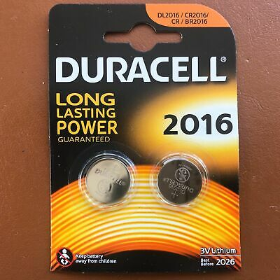 2x Duracell CR2016 3V Lithium Coin Battery 2016 DL2016 BR2016 - Longest Expiry