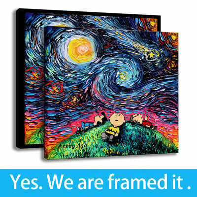 Decor HD Canvas Art Print Charlie Brown Van Gogh Snoopy Painting Framed
