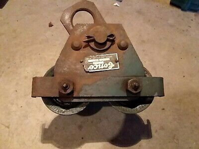 Vintage 1940's Antique Industrial Conco 1 ton Chain Hoist Beam Trolley Dolly