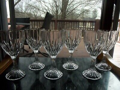 "Set (6) WATER Goblets 6-1/4"" Glasses Crystal Mikasa PARK LANE vertical cut wine"