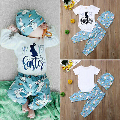2019 My 1st Easter Newborn Baby Boy Girl Romper+Pants+Hat 3Pcs Outfits Clothes