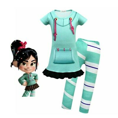 Girls Wreck-It Ralph 2 Vanellope von Schweetz Skirt & Pants Costume Cosplay Kits