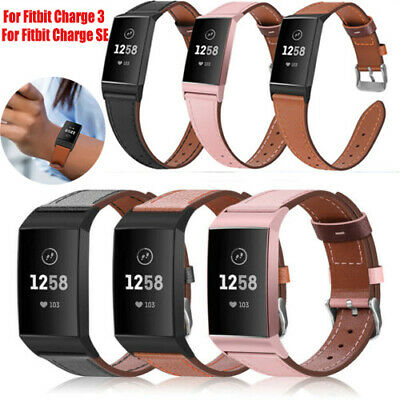 Replacement Genuine Leather Wristband Watch Band Strap For Fitbit Charge 3 US