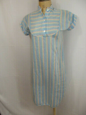Vintage 1980s Her Majesty Nightgown Blue Striped Tunic Shift Girls Size 8