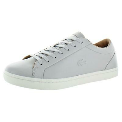 afb472e31a78f Lacoste Straightset Men s Leather Low Top Court Fashion Sneakers Gray Size  13