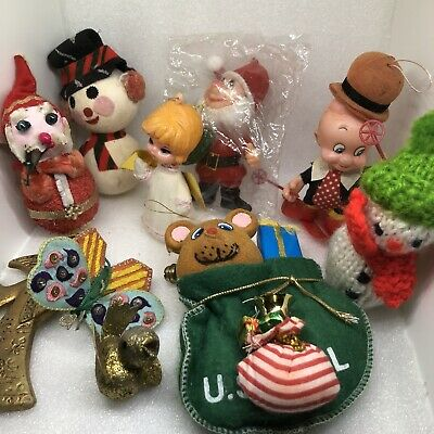 Vintage Felt & Paper Mache Christmas Ornaments Decor Mid Century Japan