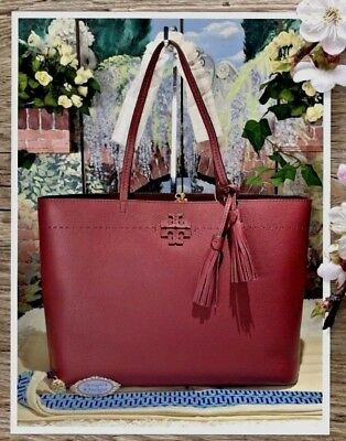 f3771a55c27 NWT TORY BURCH MCGRAW TOTE Shoulder Bag In IMPERIAL GARNET   PORT Leather   398
