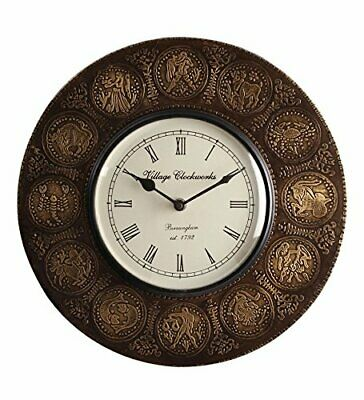 Vintage Wall Clock Zodiac Sign Decorative Wooden Clock & Brass Plating Homedecor