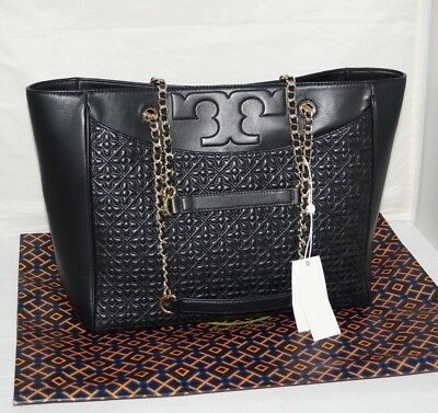 6a9301c1c56e NWT Authentic  575 TORY BURCH BRYANT Black w  Gold Chain Leather Tote Bag