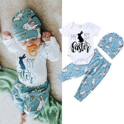 2ca0850fb0c 2019 1st Easter Outfit Set Newborn Infant Baby Boy Girl Romper+Pants Hat  Clothes