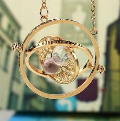 Harry Potter Time Turner Golden Necklace Hermione Granger Spin Hourglass Pendant