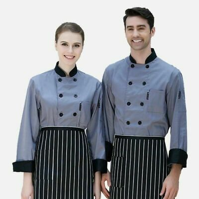 Chef Jacket Top Coat Catering Uniform Workwear Waiter Pocket Hotel Restaurant