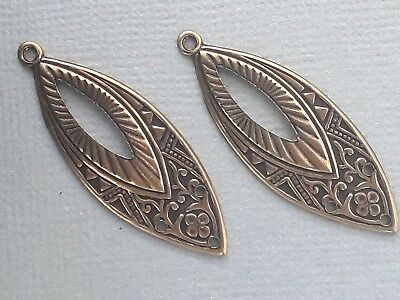 2 vintage look antique gold earring teardrop shaped charms 38mm